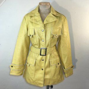 Vintage 70s expanded vinyl yellow raincoat